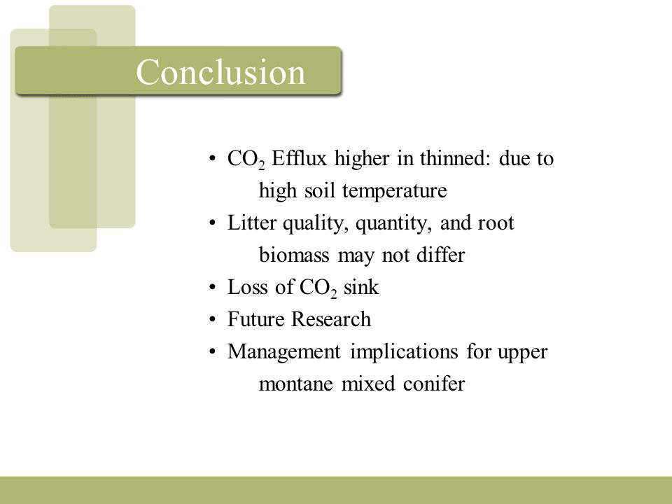 Conclusion CO 2 Efflux higher in thinned: due to high soil temperature Litter quality, quantity, and root biomass may not differ Loss of CO 2 sink Future Research Management implications for upper montane mixed conifer
