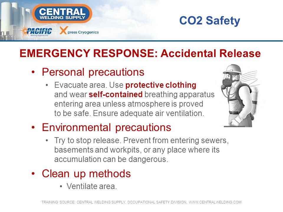EMERGENCY RESPONSE: Accidental Release Personal precautions Evacuate area. Use protective clothing and wear self-contained breathing apparatus when en