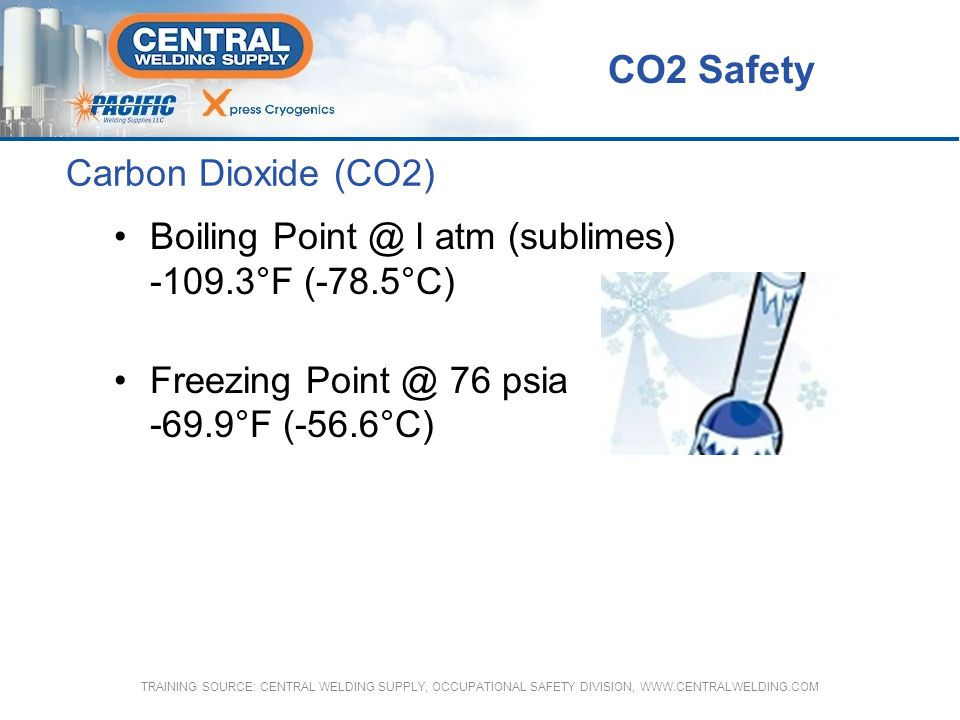 Carbon Dioxide (CO2) Boiling Point @ l atm (sublimes) -109.3°F (-78.5°C) Freezing Point @ 76 psia -69.9°F (-56.6°C) CO2 Safety TRAINING SOURCE: CENTRA