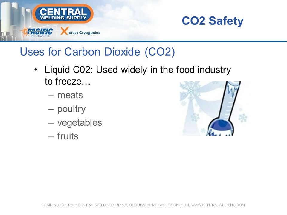 Carbon Dioxide (CO2) Safety Features Threaded neckring is secured to tapered end of the cylinder to allow a protective cylinder cap to be installed Cylinders are manufactured according to ASME and DOT specification codes Cylinders in service are hydrostatically tested upon manufacture, and every five years thereafter at 5/3 times the service pressure.