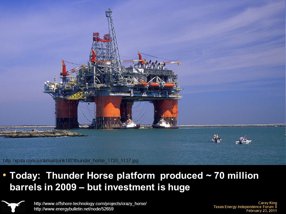 Carey King Texas Energy Independence Forum 8 February 23, 2011 Today: Thunder Horse platform produced ~ 70 million barrels in 2009 – but investment is