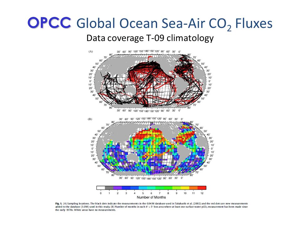 OPCC OPCC Global Ocean Sea-Air CO 2 Fluxes Data coverage T-09 climatology