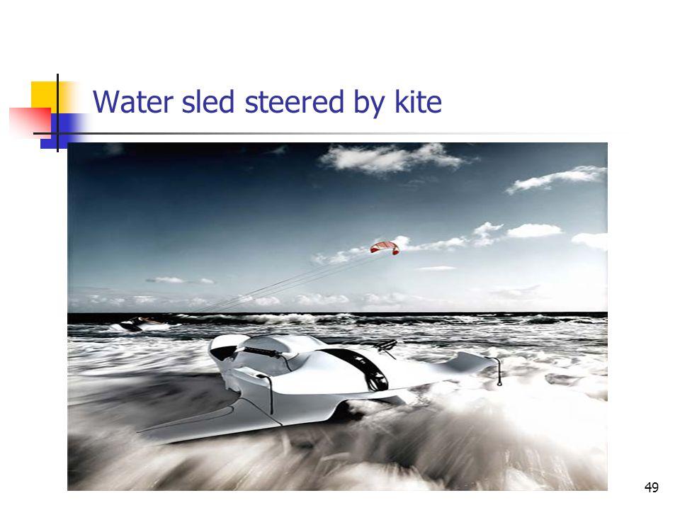 Water sled steered by kite 49