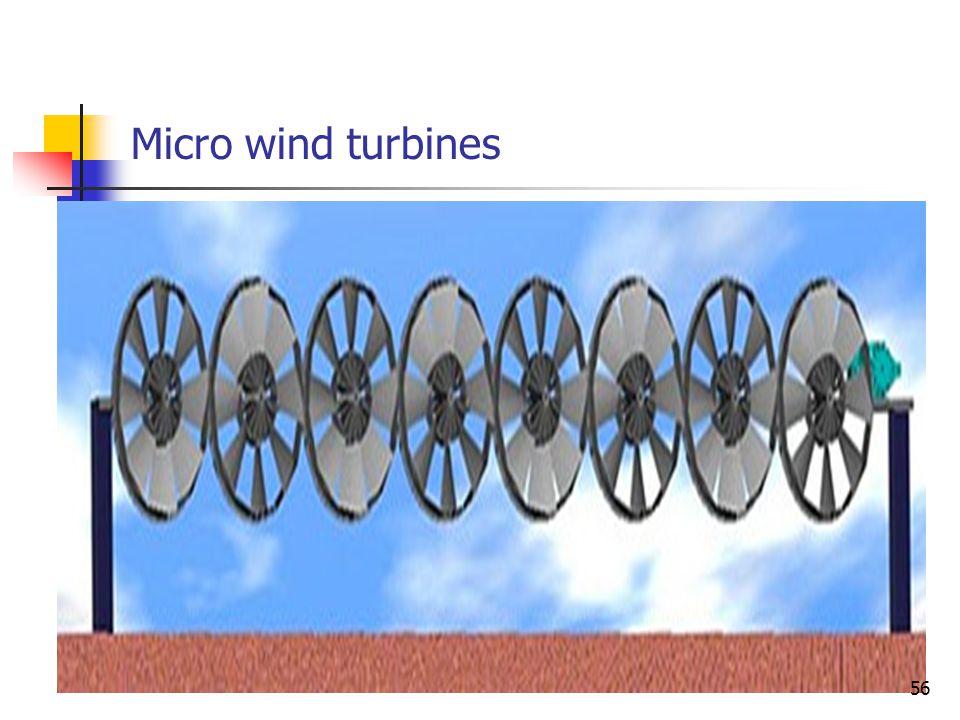 Micro wind turbines 56