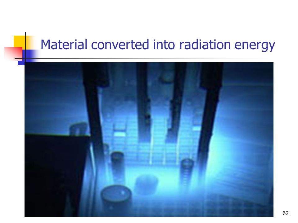 Material converted into radiation energy 62