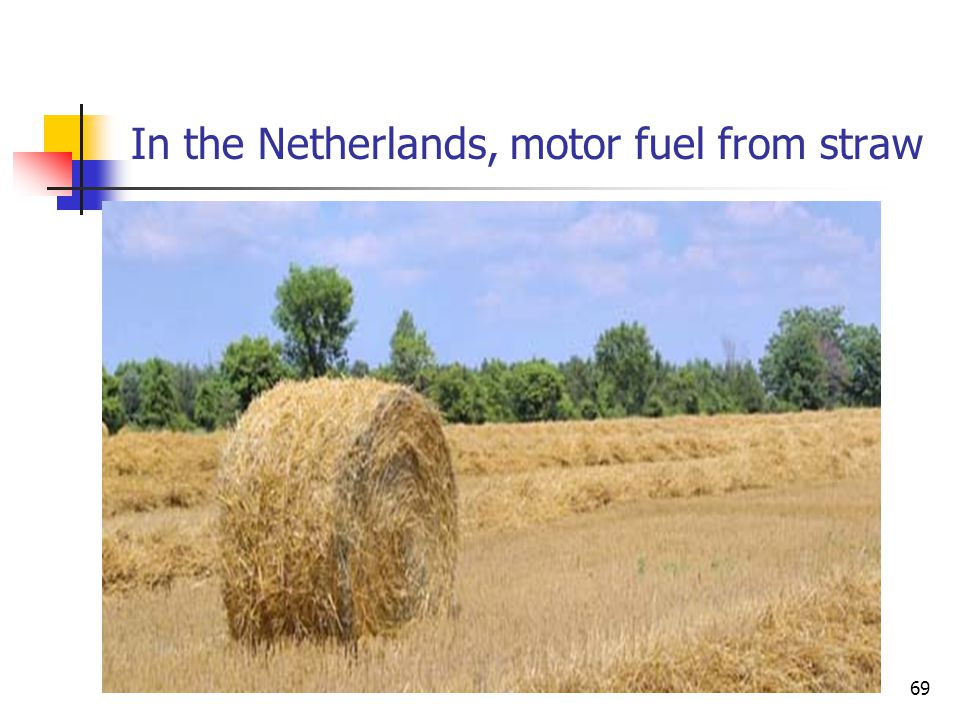 In the Netherlands, motor fuel from straw 69
