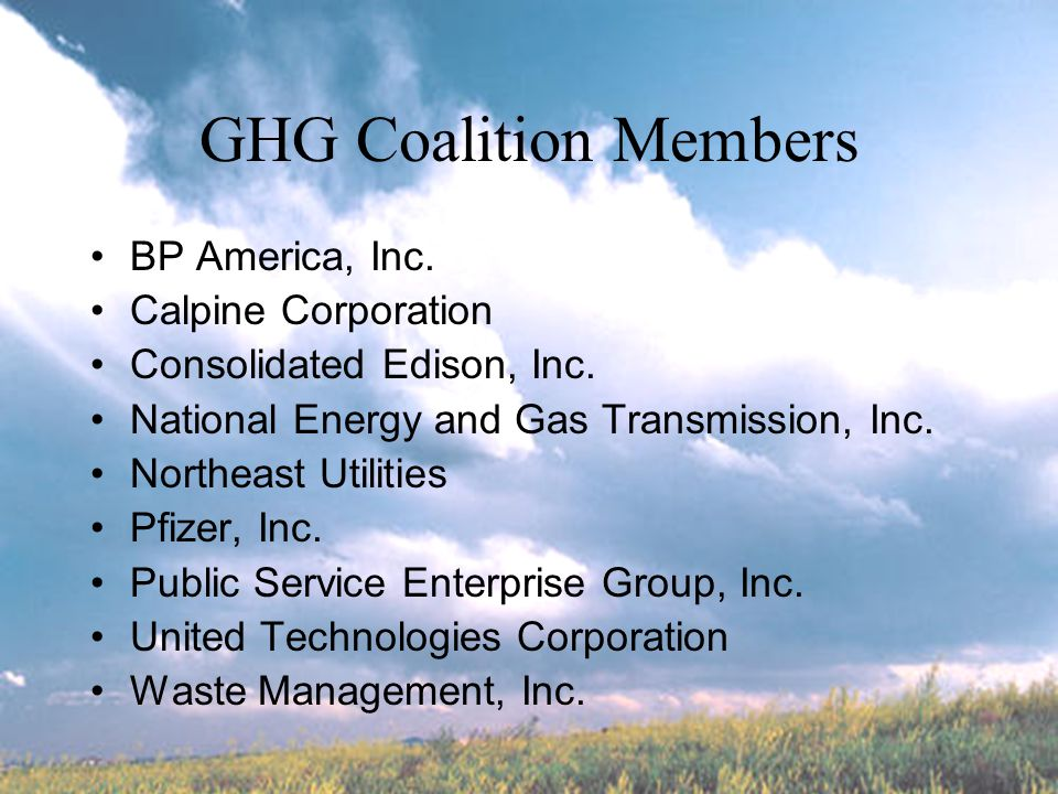 RGGI ( Regional Greenhouse Gas Initiative) Step in developing a national model (which is the preferred level of action) Strong Preference for Multi-State approach instead of state-by-state GHG coalition members participating at forefront of RGGI