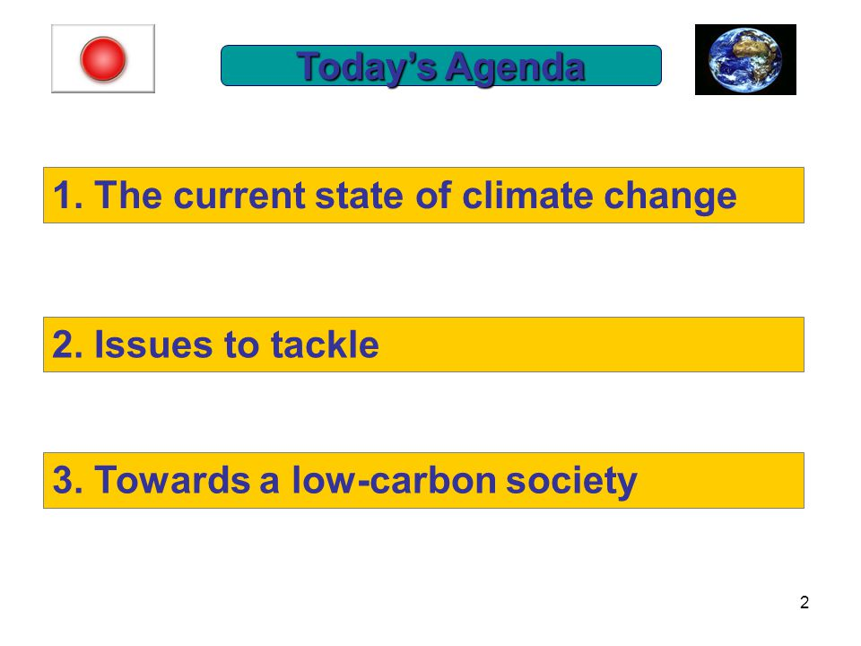 2 Today's Agenda 1. The current state of climate change 2.