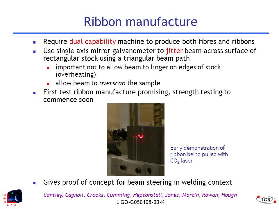 Cantley, Cagnoli, Crooks, Cumming, Heptonstall, Jones, Martin, Rowan, Hough LIGO-G050108-00-K Ribbon manufacture Require dual capability machine to pr