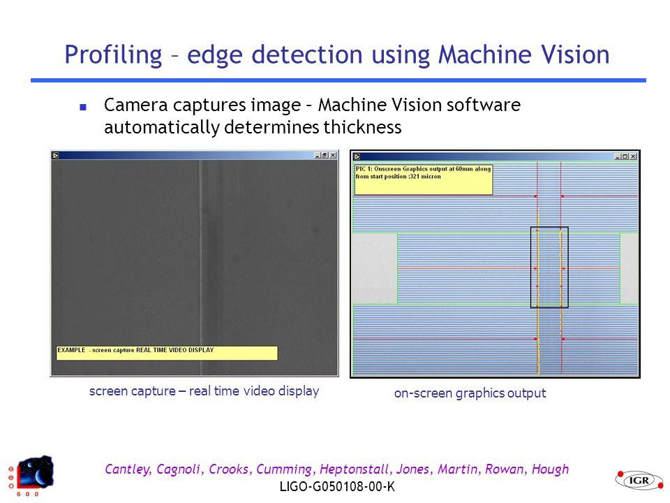 Cantley, Cagnoli, Crooks, Cumming, Heptonstall, Jones, Martin, Rowan, Hough LIGO-G050108-00-K Profiling – edge detection using Machine Vision on-scree