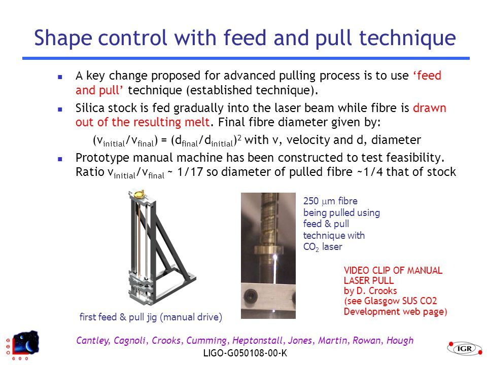 Cantley, Cagnoli, Crooks, Cumming, Heptonstall, Jones, Martin, Rowan, Hough LIGO-G050108-00-K Shape control with feed and pull technique A key change