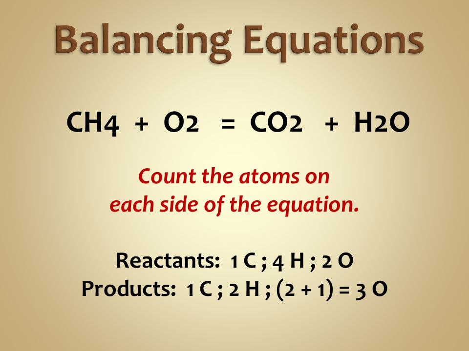 CH4 + O2 = CO2 + H2O Count the atoms on each side of the equation. Reactants: 1 C ; 4 H ; 2 O Products: 1 C ; 2 H ; (2 + 1) = 3 O