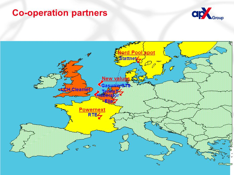 Page 11 Co-operation partners Powernext Nord Pool spot LCH.Clearnet Huberator Elia TenneT Gasunie/GTS RTE Stattnet     New values