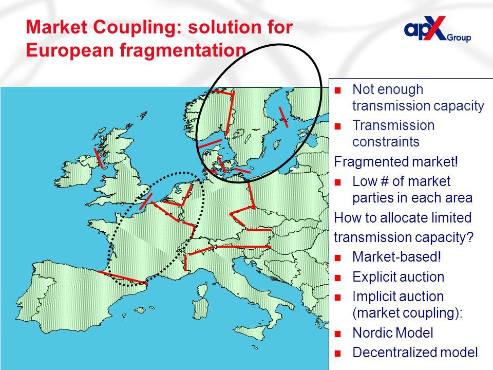 Page 14 Market Coupling: solution for European fragmentation n Not enough transmission capacity n Transmission constraints Fragmented market.
