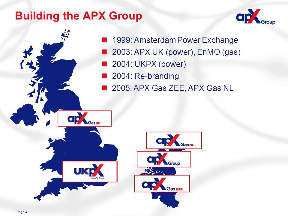 Page 3 Building the APX Group n1999: Amsterdam Power Exchange n 2005: APX Gas ZEE, APX Gas NL n2003: APX UK (power), EnMO (gas) n2004: UKPX (power) n2004: Re-branding