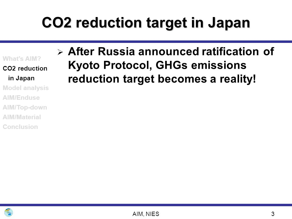 AIM, NIES34 Model analysis on CO2 reduction policy -Country top-down model approach- GDP change compared to the reference case What's AIM.