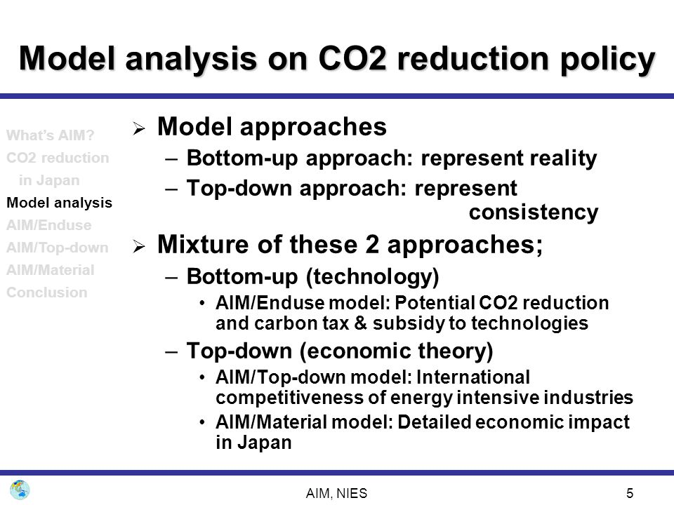 AIM, NIES5 Model analysis on CO2 reduction policy  Model approaches –Bottom-up approach: represent reality –Top-down approach: represent consistency