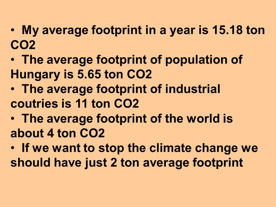 My average footprint in a year is 15.18 ton CO2 The average footprint of population of Hungary is 5.65 ton CO2 The average footprint of industrial coutries is 11 ton CO2 The average footprint of the world is about 4 ton CO2 If we want to stop the climate change we should have just 2 ton average footprint