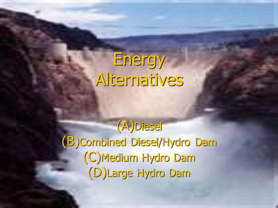 Energy Alternatives (A) Diesel (B) Combined Diesel/Hydro Dam (C) Medium Hydro Dam (D) Large Hydro Dam