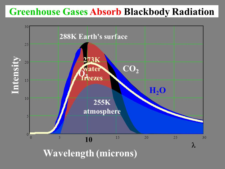 288K Earth s surface 05 10 15202530 0 5 10 15 20 25 30 Greenhouse Gases Absorb Blackbody Radiation Wavelength (microns) Intensity O3O3 CO 2 H2OH2O 255K atmosphere 273K water freezes