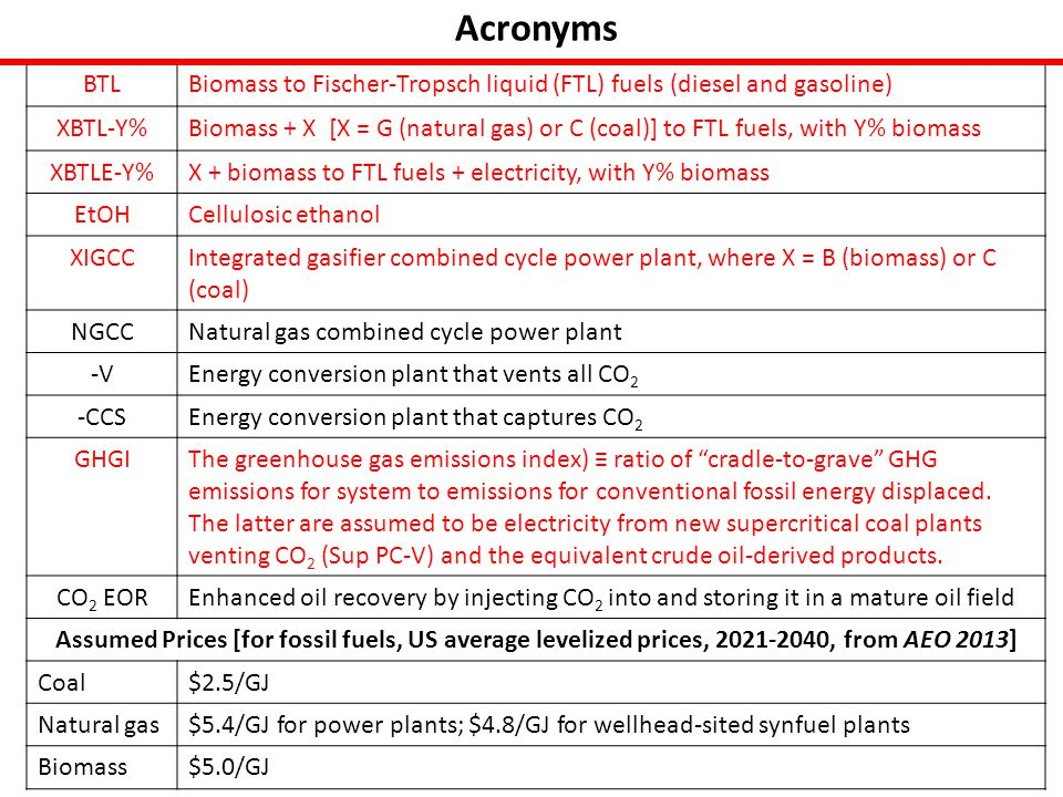 Government Perspective on GBTL Technology Cost Buydown in CO 2 EOR Applicatons TechnologyGBTL-28%-CCS Gasoline equivalent FTL capacity, barrels/day (electricity % of output)9,040 (9.6) Annual biomass (switchgrass) consumption rate, 10 6 dry tonnes0.5 GHGI0.50 Specific capital cost, $ per barrel of FTL per day 1 st plant195,000 13 th plant126,000 N th plant (N = 59)98,000 Annual CO 2 storage rate, 10 6 tonnes0.63 Barrels of crude oil via EOR per barrel of gasoline equivalent FTL0.22 Crude oil price (levelized price, 2021-2040, AEO 2013 projection)$117/bbl Subsidy, 10 9 $Plant for Which Cumulative New Government Revenues Net of Subsidies Become Positive Net New Federal Revenues for 1 st 12 Projects, $10 9 1 st plantTotal for 12 plants 1.445.346 th 4.48