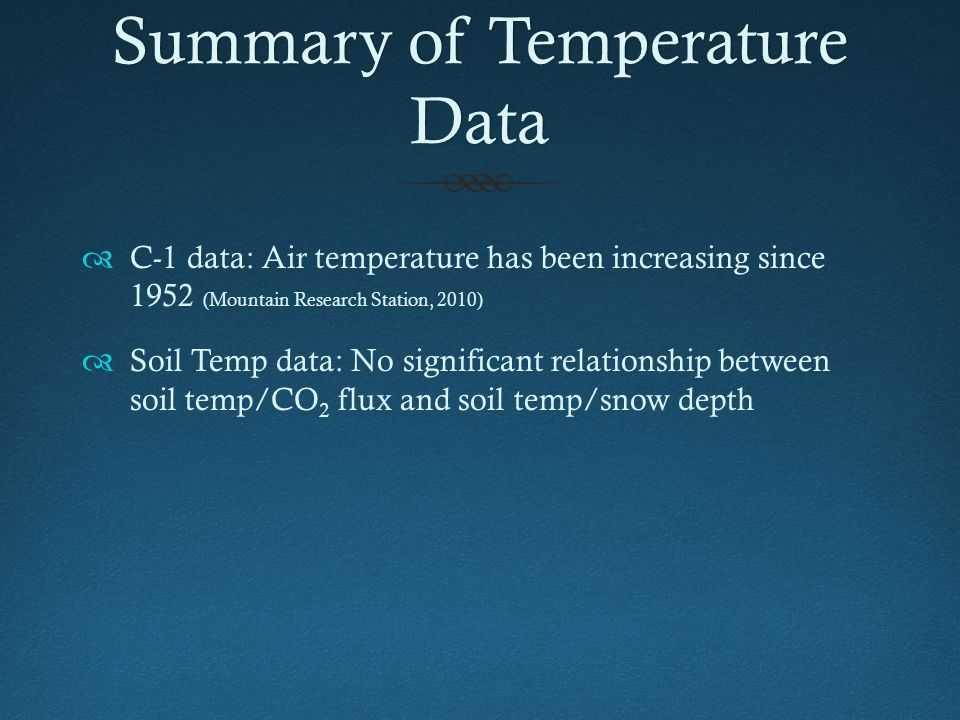 Summary of Temperature Data  C-1 data: Air temperature has been increasing since 1952 (Mountain Research Station, 2010)  Soil Temp data: No significant relationship between soil temp/CO 2 flux and soil temp/snow depth