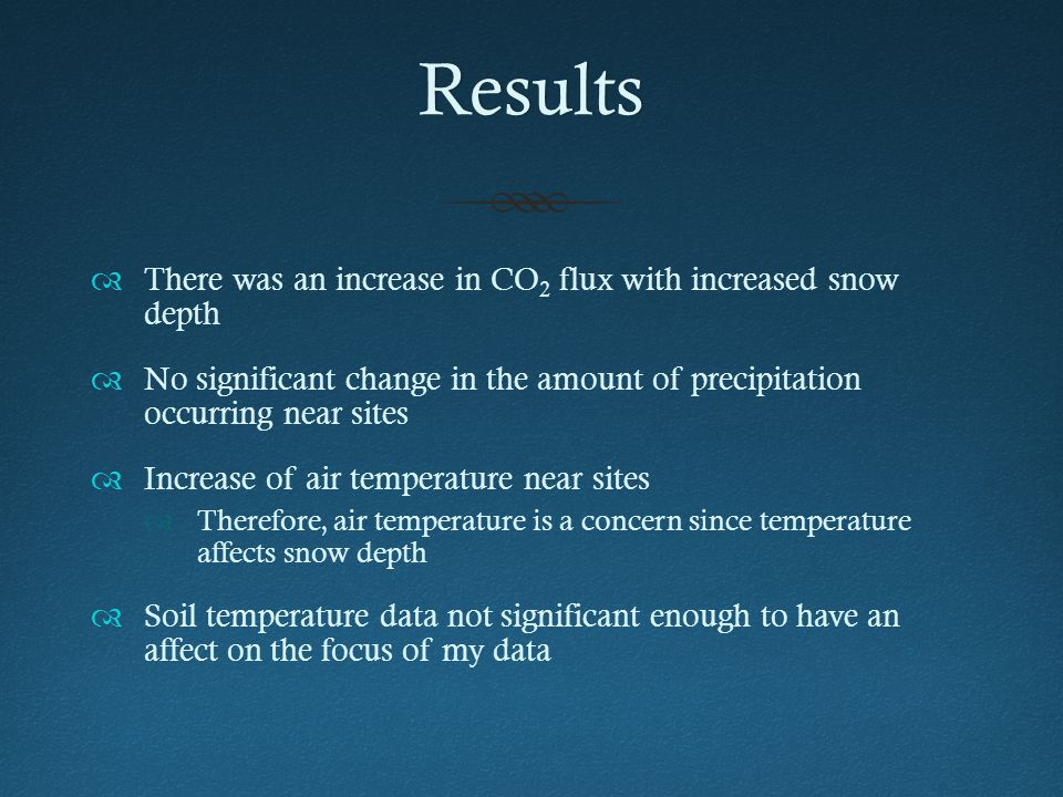 Results  There was an increase in CO 2 flux with increased snow depth  No significant change in the amount of precipitation occurring near sites  Increase of air temperature near sites  Therefore, air temperature is a concern since temperature affects snow depth  Soil temperature data not significant enough to have an affect on the focus of my data