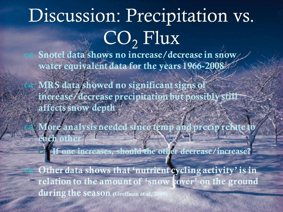 Discussion: Precipitation vs.