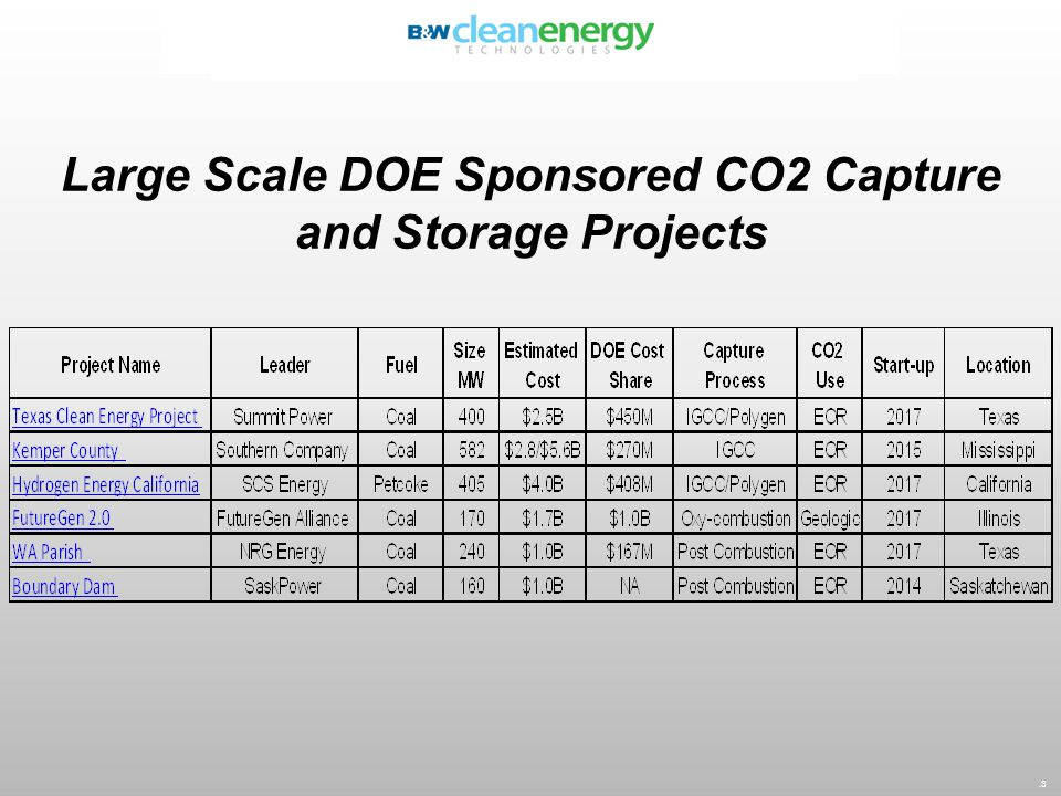 Large Scale DOE Sponsored CO2 Capture and Storage Projects.3