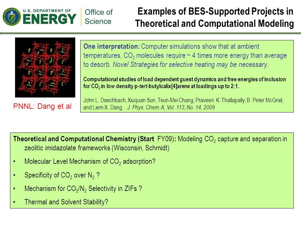 Examples of BES-Supported Projects in Theoretical and Computational Modeling One interpretation: Computer simulations show that at ambient temperatures, CO 2 molecules require ~ 4 times more energy than average to desorb.