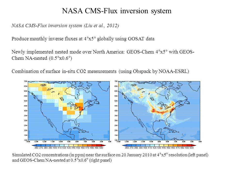Coupling WRF and the NASA CMS-Flux system WRF-CMS system (offline coupling) WRF coupled to GEOS-Chem 4°x5° for surface fluxes and boundary conditions - Bilinear interpolation at the boundaries (continuous flow with 6-hourly fields) - Surface fluxes: CMS flux product components (fossil fuel, biogenic, ocean,...) Simulated CO 2 atmospheric mixing ratios averaged over June 2010 using the WRF-CMS modeling system at 30km resolution near the surface (left panel), at 850hPa (middle panel), and at 500hPa (right panel)