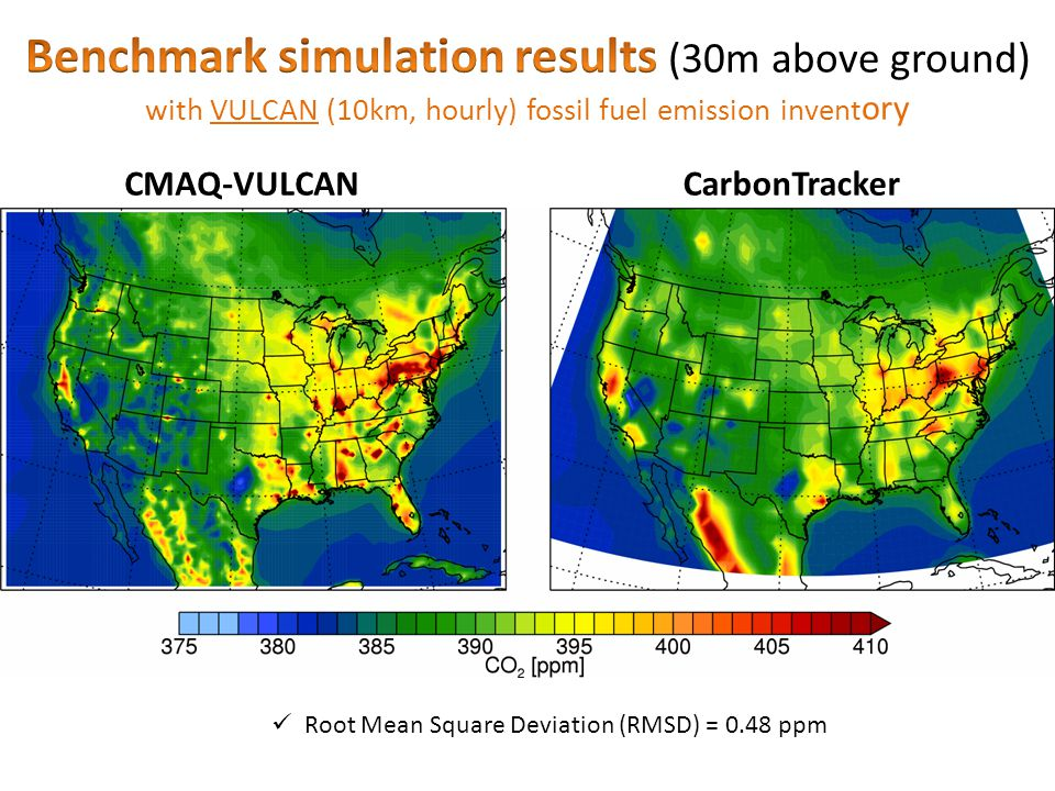 CMAQ-VULCANCarbonTracker Root Mean Square Deviation (RMSD) = 0.48 ppm