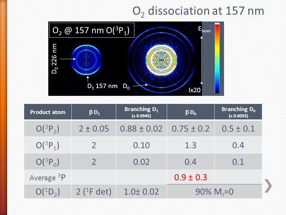 Product atom  D 1 Branching D 1 (x 0.9945)  D 0 Branching D 0 (x 0.0055) O( 3 P 2 )2 ± 0.050.88 ± 0.020.75 ± 0.20.5 ± 0.1 O( 3 P 1 )20.101.30.4 O( 3 P 0 )20.020.40.1 Average 3 P0.9 ± 0.3 O( 1 D 2 )2 ( 1 F det)1.0± 0.0290% M J =0 Ix20 O 2 @ 157 nm O( 3 P 1 ) D 1 157 nm D 0 D 0 226 nm E laser O 2 dissociation at 157 nm