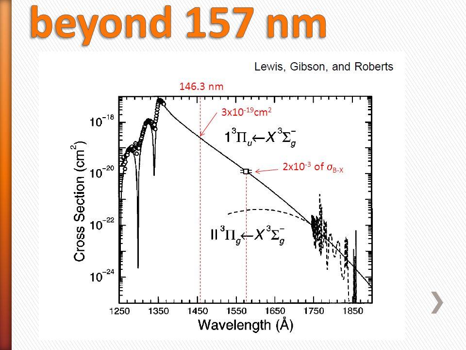 146.3 nm 3x10 -19 cm 2 2x10 -3 of  B-X