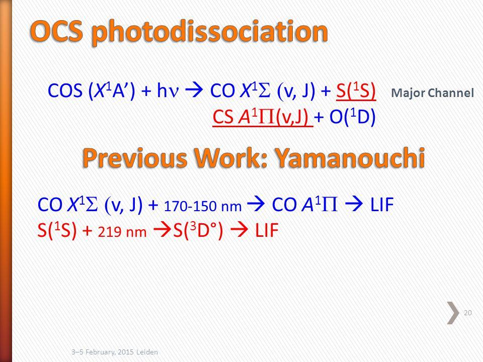 3–5 February, 2015 Leiden 20 COS (X 1 A') + h  CO X 1  v, J) + S( 1 S) CS A 1  (v,J) + O( 1 D) CO X 1  v, J) + 170-150 nm  CO A 1   LIF S( 1 S) + 219 nm  S( 3 D°)  LIF Major Channel
