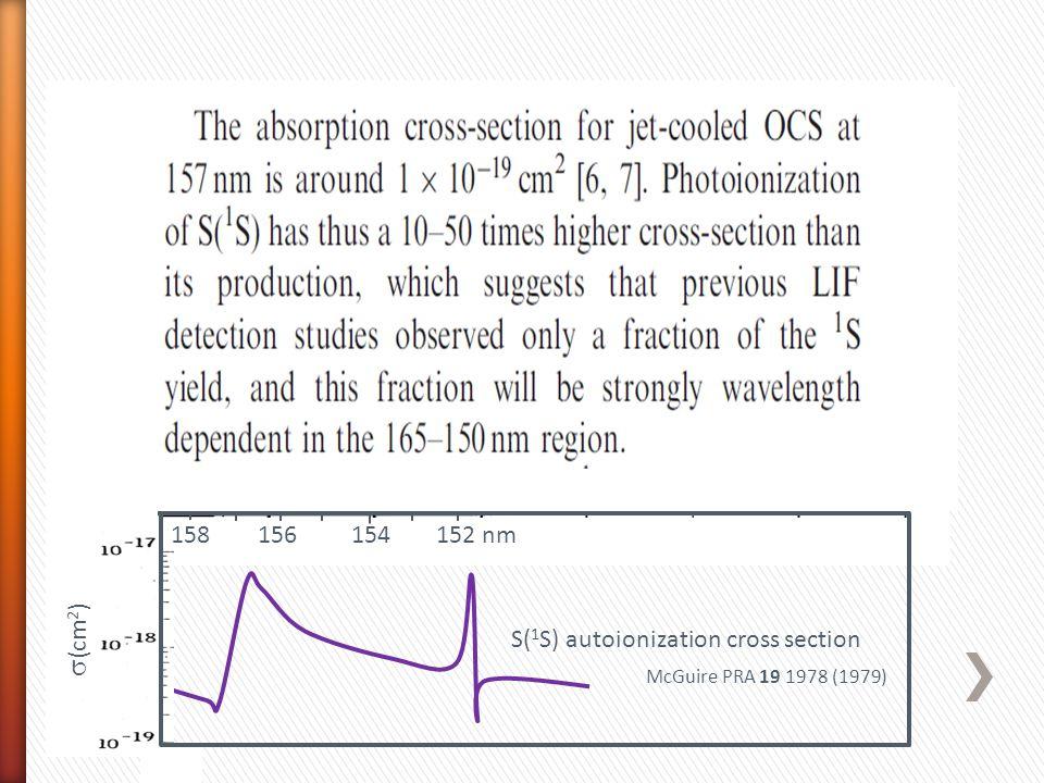  (cm 2 ) S( 1 S) autoionization cross section 158 156 154 152 nm 64206420  x 10 -19 cm 2 F 2 laser McGuire PRA 19 1978 (1979) PHOFEX