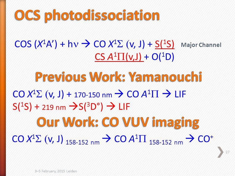 3–5 February, 2015 Leiden 27 COS (X 1 A') + h  CO X 1  v, J) + S( 1 S) CS A 1  (v,J) + O( 1 D) CO X 1  v, J) + 170-150 nm  CO A 1   LIF S( 1 S) + 219 nm  S( 3 D°)  LIF Major Channel CO X 1  v, J) 158-152 nm  CO A 1  158-152 nm  CO +