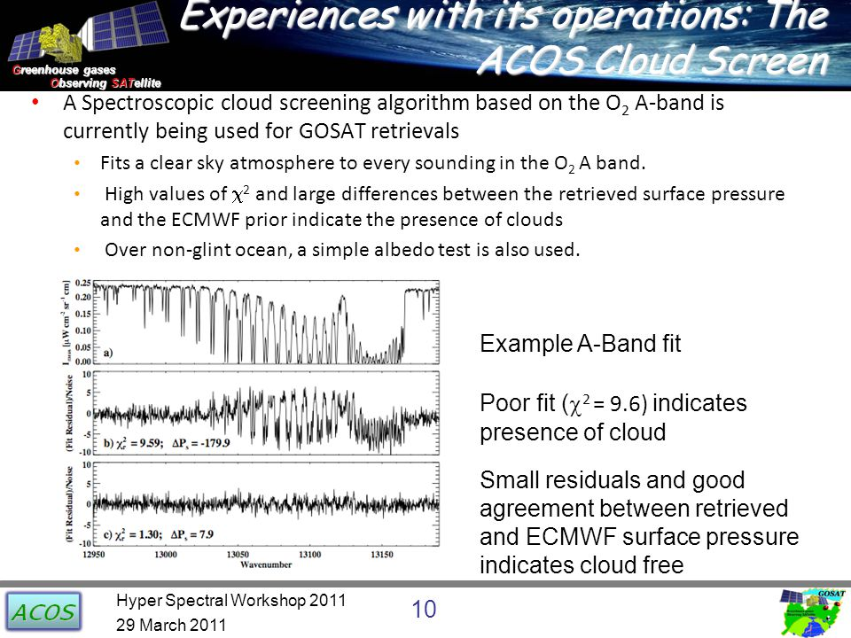 Greenhouse gases Observing SATellite Observing SATellite Experiences with its operations: The ACOS Cloud Screen A Spectroscopic cloud screening algorithm based on the O 2 A-band is currently being used for GOSAT retrievals Fits a clear sky atmosphere to every sounding in the O 2 A band.