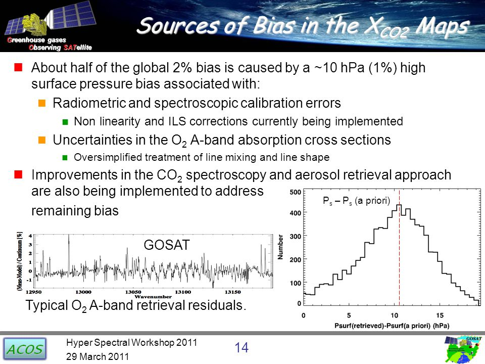 Greenhouse gases Observing SATellite Observing SATellite Sources of Bias in the X CO2 Maps About half of the global 2% bias is caused by a ~10 hPa (1%