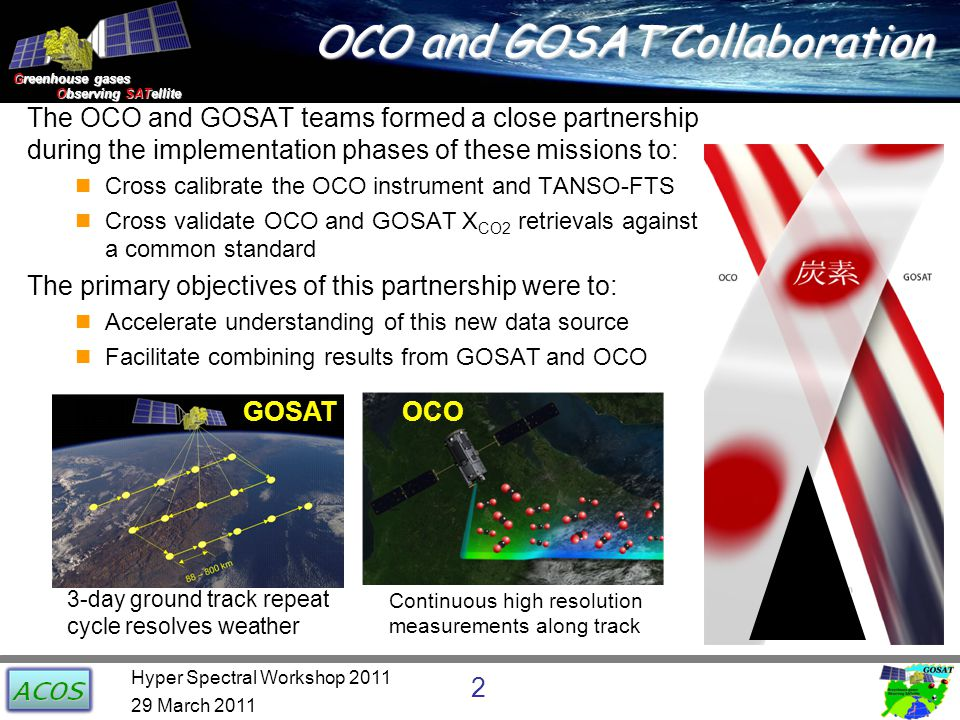 Greenhouse gases Observing SATellite Observing SATellite OCO and GOSAT Collaboration The OCO and GOSAT teams formed a close partnership during the imp