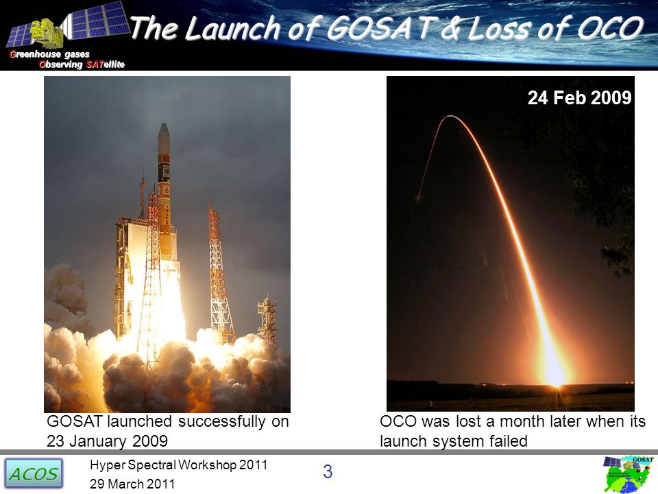 Greenhouse gases Observing SATellite Observing SATellite The Launch of GOSAT & Loss of OCO 24 Feb 2009 GOSAT launched successfully on 23 January 2009 OCO was lost a month later when its launch system failed 29 March 2011 3 Hyper Spectral Workshop 2011