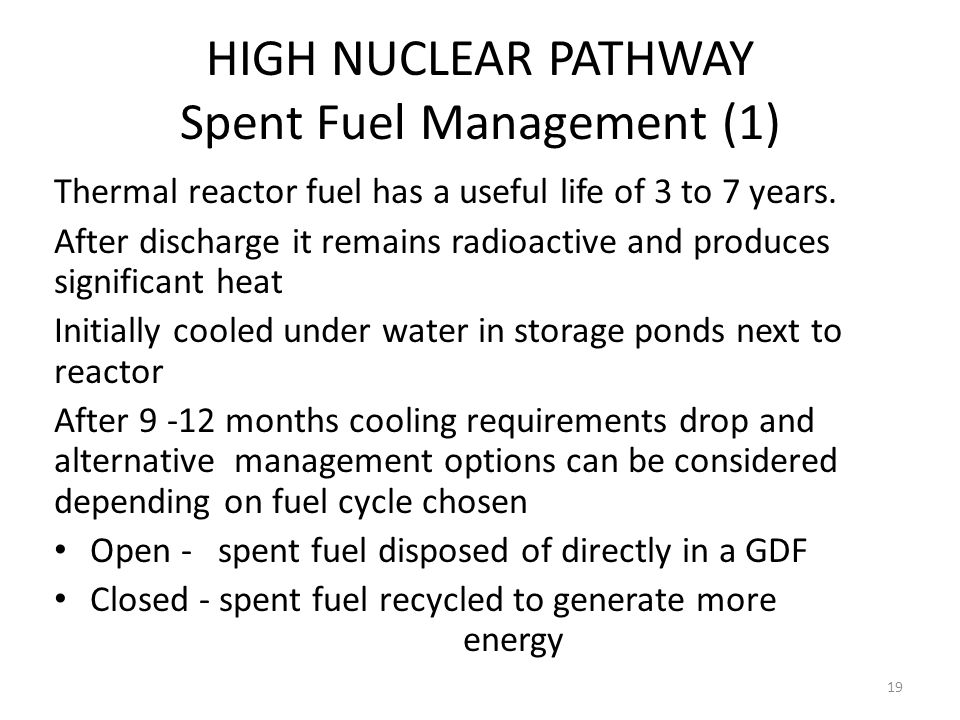 HIGH NUCLEAR PATHWAY Spent Fuel Management (1) Thermal reactor fuel has a useful life of 3 to 7 years. After discharge it remains radioactive and prod