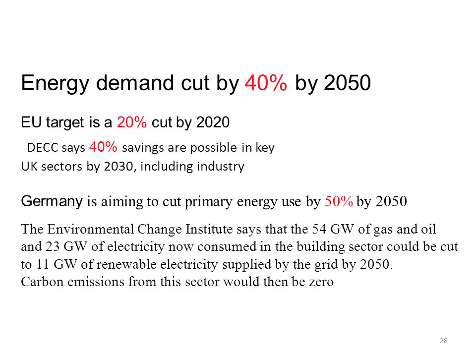 Energy demand cut by 40% by 2050 EU target is a 20% cut by 2020 DECC says 40% savings are possible in key UK sectors by 2030, including industry Germa