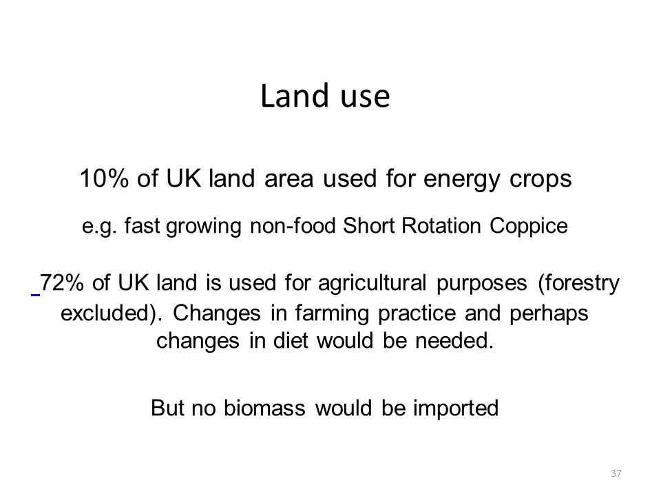 Land use 10% of UK land area used for energy crops e.g. fast growing non-food Short Rotation Coppice 72% of UK land is used for agricultural purposes