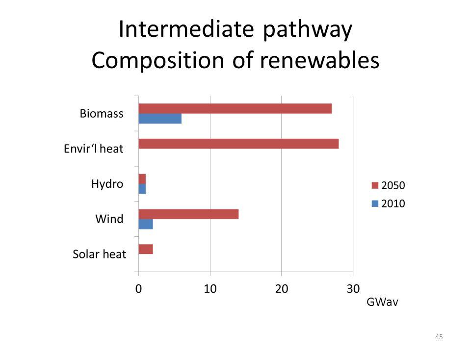 Intermediate pathway Composition of renewables GWav 45