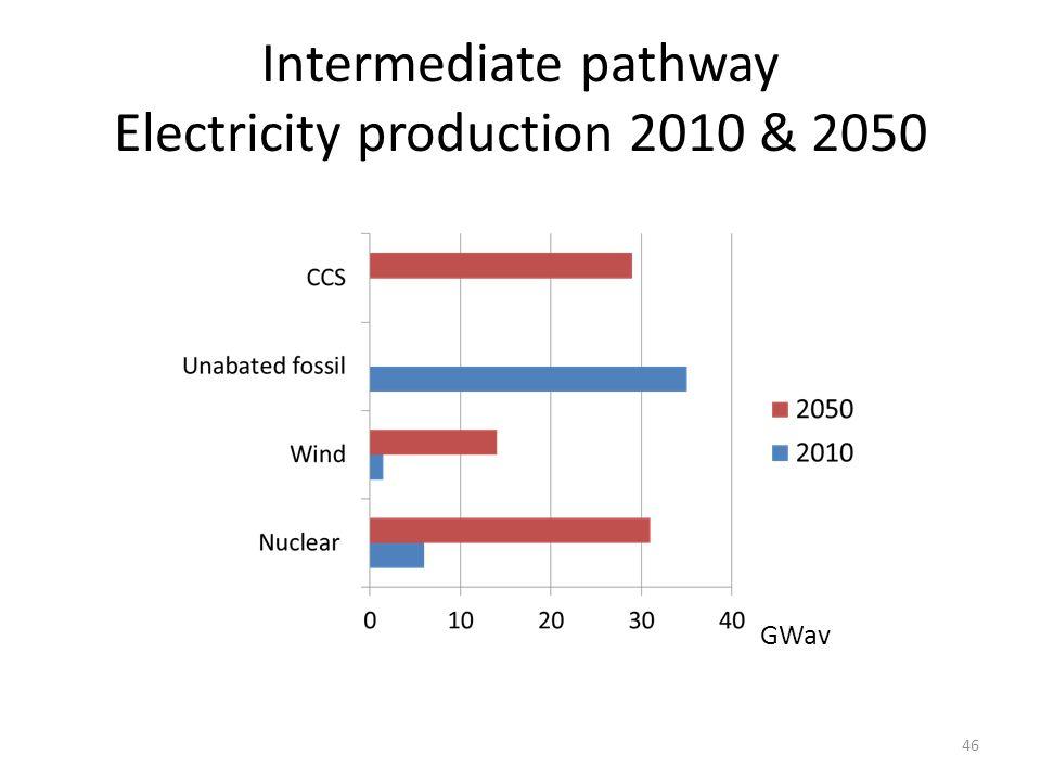 Intermediate pathway Electricity production 2010 & 2050 GWav 46