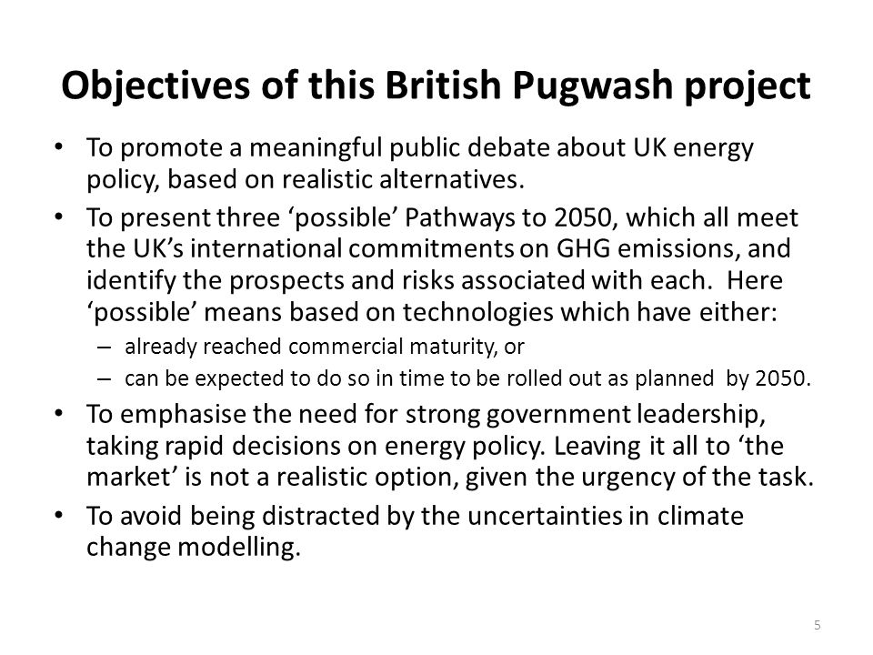 Objectives of this British Pugwash project To promote a meaningful public debate about UK energy policy, based on realistic alternatives. To present t