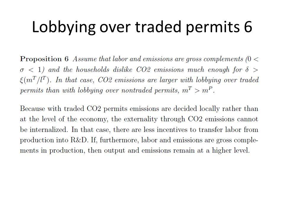 Lobbying over traded permits 6