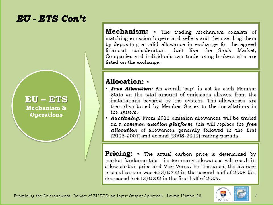 Examining the Environmental Impact of EU ETS: an Input Output Approach - Lawan Usman Ali 7 EU – ETS Mechanism & Operations EU – ETS Mechanism & Operat