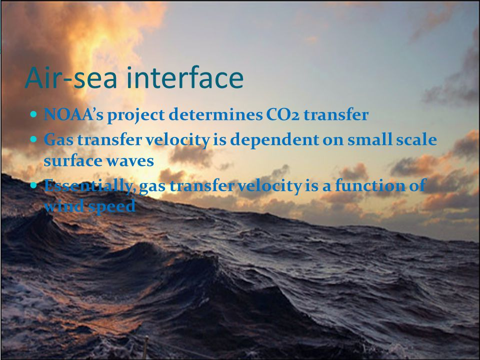 Air-sea interface NOAA's project determines CO2 transfer Gas transfer velocity is dependent on small scale surface waves Essentially, gas transfer velocity is a function of wind speed